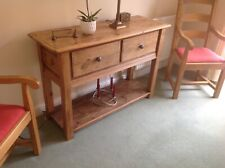 SOLID PINE CONSOLE/BUFFET TABLE WITH 2 DEEP DRAWERS AND SHELF UNDERNEATH
