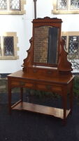 Stunning Arts & Crafts Edwardian Dressing Table with Mirror & Green Man Handles