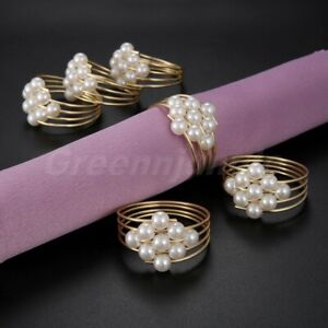 6PCS Pearls Multi-Ring Napkin Holder Dinner Party Wedding Table Decoration