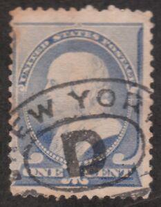 United States 1 Cent 1887 Used Postage Stamp - Benjamin Franklin