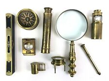 Antique Brass Field Specimen Kit, Microscope Insect Magnifying Glass Compass ETC