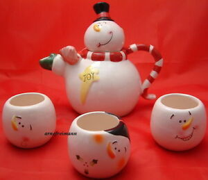 Teekanne +  3 Becher Schneemann Weihnachten Tee Set,ovp.NEU!