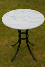 Marble High Top Bistro Coffee Table Home or Commercial Use Cafe Pub Yard White