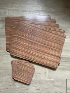 Denby Wood Effect Brown Stripe Place Mats And Coasters