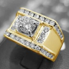 14K Yellow Gold VVS1 Diamond Mens Engagement Pinky Ring Wedding Band 3.00 Carat