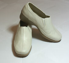 *SALE* SHOP CLEARANCE! Light Cream Real Leather Shoes Wedge Heel UK 8 #131