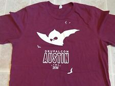 Vtg 2014 DRUPALCON Austin T-SHIRT Mens L Drupal Education Bats Computer Tech App