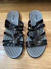 Clarks Privo Black Faux Patent Leather Low Heel Sandals Slide On Adjustable 9.5M
