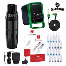 Dragonhawk Mast Tattoo Machine Set Kit Motor Rotary Pen Makeup New Power Supply