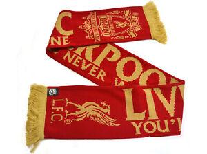 FC LIVERPOOL SCHAL, LFC REDS YNWA SCARF ROT/GOLD - YOU´LL NEVER WALK ALONE [NEU]