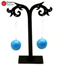 Trendy 20mm Blue Round Natural Turquoise Hook Earring for Women Jewelry ear727