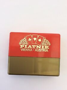 1970s Old Vintage Piatnik Small Mini Patience Playing Cards In Case