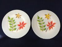 2 Unusual MacBeth Evans Monax Petalware Hand Painted Plates with Leaves