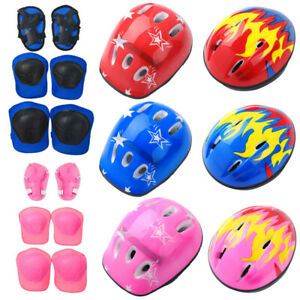 7pcs Protective Gear Outfit Kid Adjustable Helmet Knee Wrist Guard Elbow Pad 21""