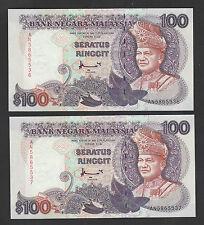 2pcs - 7th RM100 Ahmad Don, Printer H & Son, 1st Prefix AN - Crisp UNC