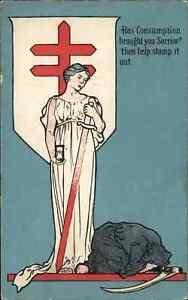 Consumption Tuberculosis Health Notice Grim Reaper c1910 Postcard