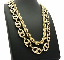 "Hip Hop Gold PT Chunky 8mm 30"" Rope Chain & 12mm 30"" Marina Chain 2 Necklace Set"
