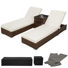 2x Tumbona chaise longue de aluminio poli ratán + Mesa de jardín terraza marrón