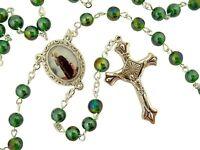 Green Glass Prayer Bead Rosary with Saint Peregrine Centerpiece, 14 Inch
