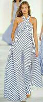 Ralph Lauren Purple Label Adelaide Blue Stripe Dress Runway Jumpsuit IT 38 US 2