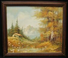 """S. Hills """"Tranquility Mountain"""" Signed Oil on Canvas Painting Framed 27x23"""""""