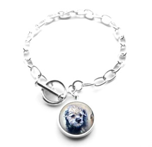 Silver Plated Border Terrier Dog Art Bracelet