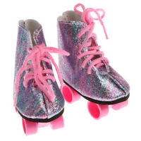 Pair of Lace Up Rainbow Roller Skates Shoes for 18inch AG American Doll Dolls
