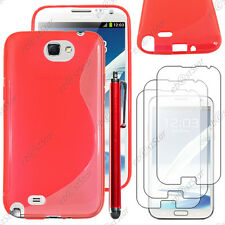 Housse Etui Coque Silicone S-line Rouge Samsung Galaxy Note 2 + Stylet + 3 Films