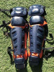 "Nike Vapor Elite 15"" Catchers Leg Shin Guards Navy Orange New CSF ASTROS"