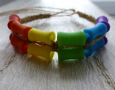 Colourful Rainbow Festival Friendship Hemp Surfer Bracelet Unisex Gay Pride LGBT