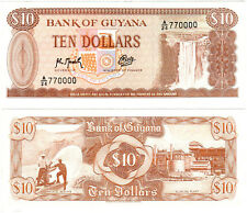 Guyana $10 P#23f (1966-92) Bank of Guyana SN#769999 & 770000 UNC