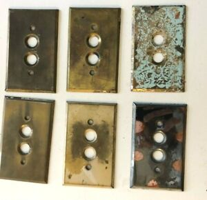 Vintage Push Button Light Switch Metal Cover Plates, Brass, Stainless, Lot of 6