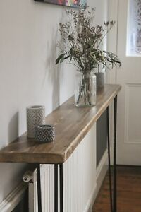 Reclaimed Wood Handmade Radiator Cover Table with Hairpin Legs - 101cm wide