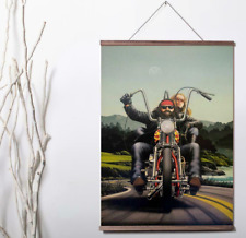 Ghost Rider David Mann Canvas poster with wood scroll