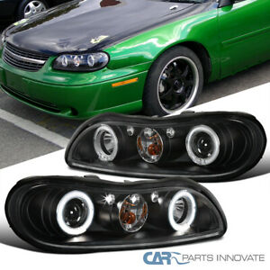 Chevy 97-03 Malibu Black LED DRL Halo Projector Headlights Head Lamps Left+Right