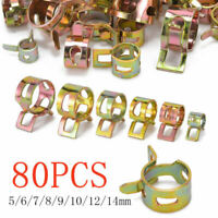 80 pcs Vacuum Fuel Hose Pinch Spring Clip Clamp Kit Pack Clip Clamps 5m AII