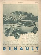 ▬► PUBLICITE ADVERTISING AD VOITURE CAR RENAULT NERVASTELLA 1931