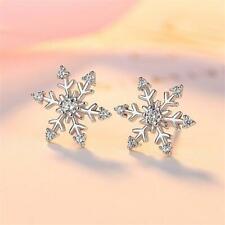 Women Child Crystal White Topaz Xmas Ear Stud Snowflake Earrings Rhinestones