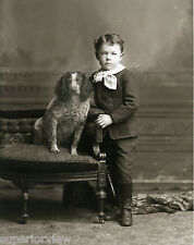 Little Victorian Boy Knickers Button Boots and his Springer Spaniel Dog MUST SEE