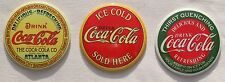 USA Coca Cola XL runde Kühlschrank Magnete 3 Stück Set