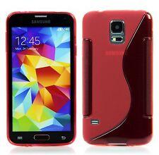 Samsung Galaxy S5 / S5 NEO TPU Silikon Case Schutz Hülle S-Line Rot + Folie
