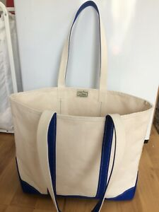 Vintage LL Bean Boat & Tote Bag - White with Navy Blue Trim - Large Handles