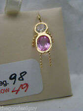 Month of Oct. Birthstone charm pendant 14kt yellow gold white and Pink NICE BOY