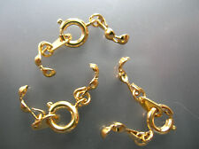 7.2 mm 14k gold plated spring ring clasp & tag both sides w/ ending caps 10 sets