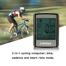 Wireless Bike Cycling Computer w Cadence Heart Rate Monitor Chest Strap 3W T1R9