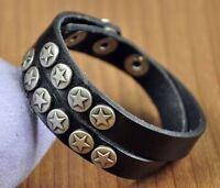 Cool Double-Wrap Stars Studded Genuine Leather Bracelet Wristband Cuff Black