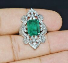 Gorgeous 8.6cts Light Emerald & Round Cut CZ Engagement Wedding Ring 925 Silver
