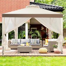 Tonnelle Pavillon De Jardin En Fer Et Polyester Avec Double Toits 3 X 3M-Beige