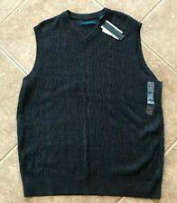 NEW XLT XT XL TALL PERRY ELLIS V-Neck Sweater VEST BLACK GREY GRAY ZIG ZAG $80