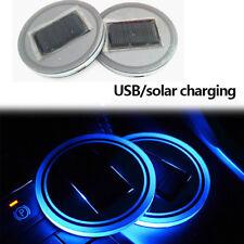 Car Solar Cup Holder Bottom Pad LED Light 7 Colorful Solar charging Decoration